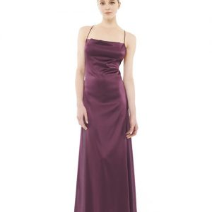 BRIDGETTE SILK CHARMEUSE LONG DRESS VINO