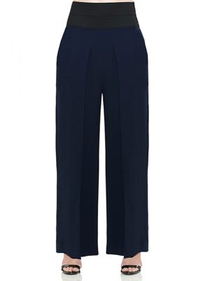 HEATHER PLEATED HI-WAIST WIDE LEG GEORGETTE PANT