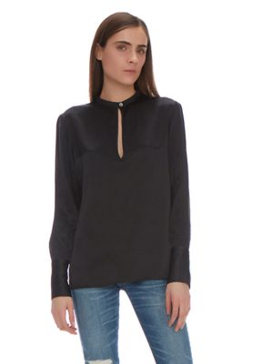 GINNA KEY HOLE SILK BLOUSE