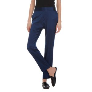 HELEN CIGARETTE STRETCH SILK PANTS