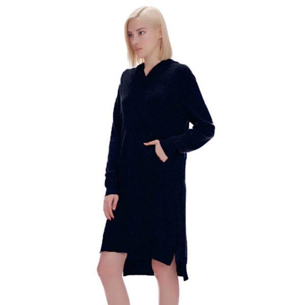 OLIVIA HOODED CASHMERE DRESS