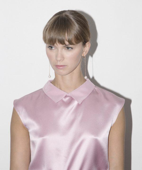 silk collared blouse