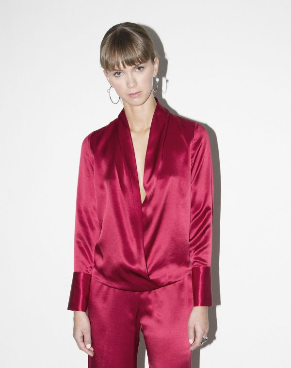 silk blouse with satin cuff
